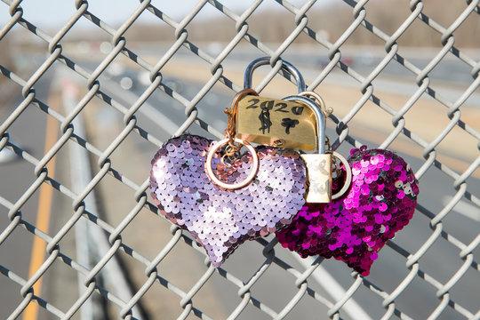 Locked padlock on the fence - Image