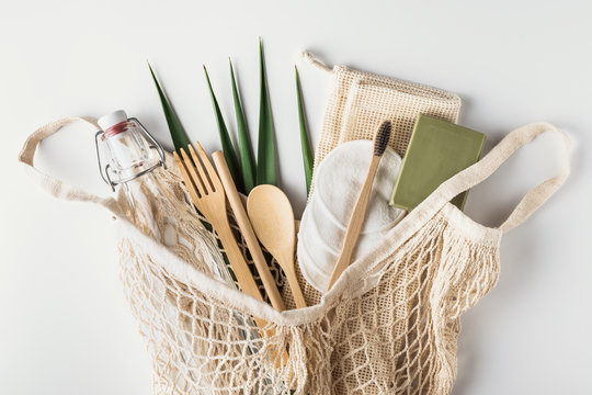 Zero waste, sustainable and eco-friendly lifestyle. Bathroom and kitchen supplies from recyclable, reusable materials