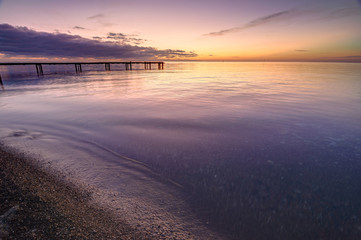 Keuken foto achterwand Lichtroze Beautiful seascape at sunset, black sea, Anapa, Russia