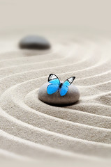 Foto op Plexiglas Stenen in het Zand garden meditation stone background and butterfly with stones and lines in sand for relaxation balance.