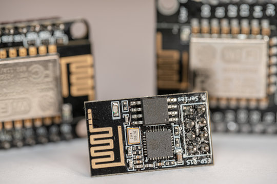 Multiple ESP8266 NodeMCU modules which are microcontroller boards used for IoT project or stem education