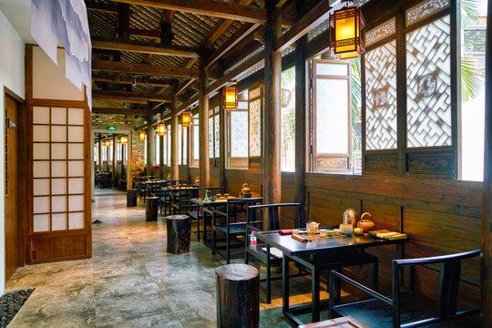 SHENZHEN, CHINA - CIRCA APRIL, 2019: interior shot of Xiao Ke Tang Tea House at Gankeng Hakka Town in Shenzhen. Gankeng Hakka Town is a tourist attraction by OCT Group.