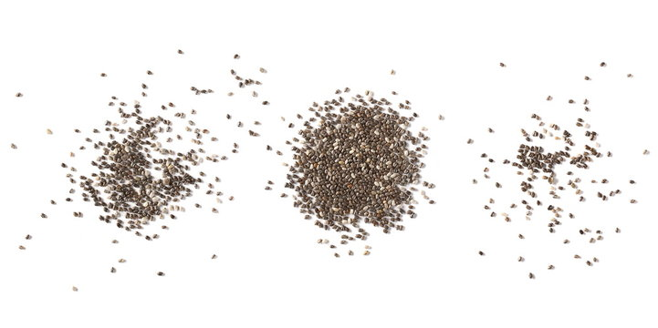 Set chia seeds isolated on white background, top view