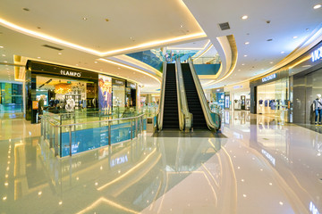 SHENZHEN, CHINA - APRIL 09, 2019: interior shot of Coastal City shopping mall.