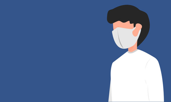 Man wearing fashion mask for prevent virus and dust, Air pollution, Contaminated air. Flat design