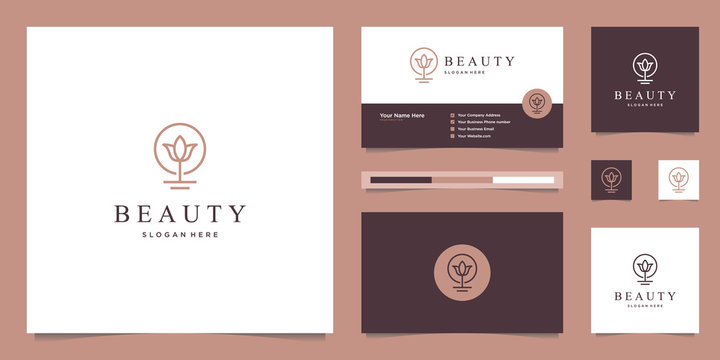 Beauty lotus flower logo design and business card