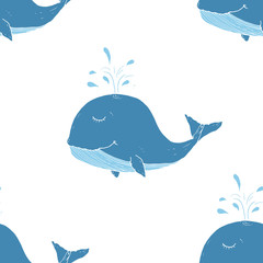 Cute Whale Seamless Pattern Cartoon Hand Drawn Animal Doodles Vector Illustration Background