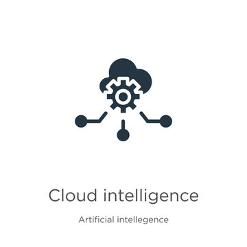 Cloud intelligence icon vector. Trendy flat cloud intelligence icon from artificial intellegence and future technology collection isolated on white background. Vector illustration can be used for web