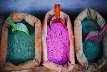 Colored pigments at a market in Chefchaouen, Atlas mountains, Morocco Wall mural