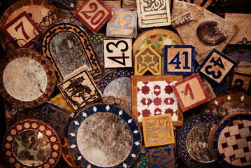 Tiles for sale at a market in Fes, Morocco