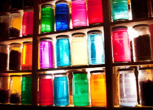 colorful jars with lids at a market in Marrakesh, Morocco