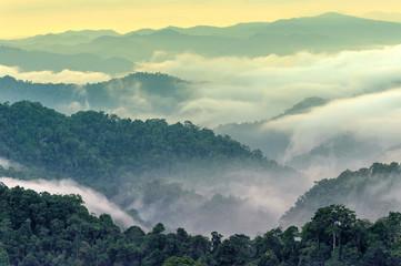 Papiers peints Bleu vert Sunrise tropical mountain Kaeng Krachan National Park Panoen Thung Mountain in Phetchaburi Thailand