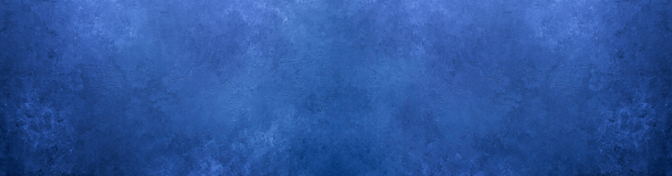 Abstract grunge decorative background toned classic blue color. Long banner. Old textured background