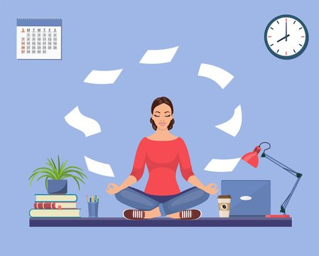Businesswoman doing yoga to calm down the stressful emotion from hard work in office over desk with office Concept of meditation . Vector illustration in flat style