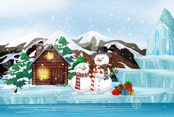 Canvas Prints Kids Scene with snowman and cottage on christmas day