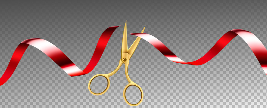 Scissors Cutting Ribbon Shop Grand Opening Vector. Ceremonial Metal Golden Scissors Cut Red Silk Tape Decoration. Festive Ceremony Equipment Concept Template Realistic 3d Illustration