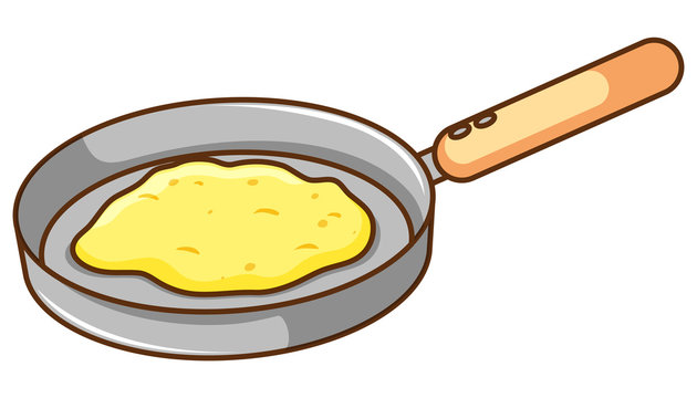 Frying pan with scrumbled egg in it