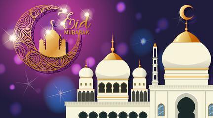 Zelfklevend Fotobehang Kids Background design for Muslim festival Eid Mubarak