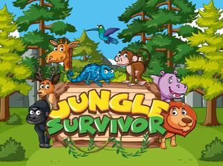 Zelfklevend Fotobehang Kids Font design for jungle survivor with animals in the jungle