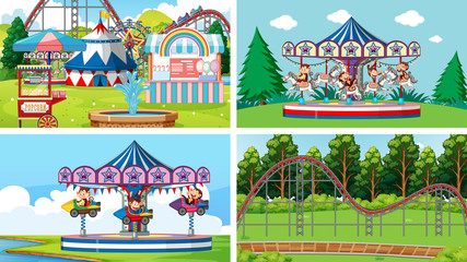 Zelfklevend Fotobehang Kids Four scenes with many rides in the fun fair