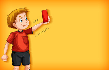 Stores à enrouleur Jeunes enfants Plain background with football referee with red card