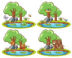 Stores à enrouleur Jeunes enfants Set of wild animals in the park with pond and tree