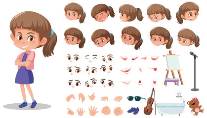 Stores à enrouleur Jeunes enfants Set of kid character with different expressions on white background