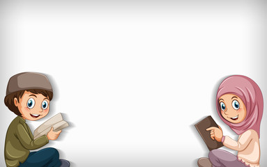 Zelfklevend Fotobehang Kids Plain background with muslim boy and girl reading book