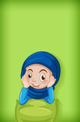 Zelfklevend Fotobehang Kids Background template design with happy muslim girl