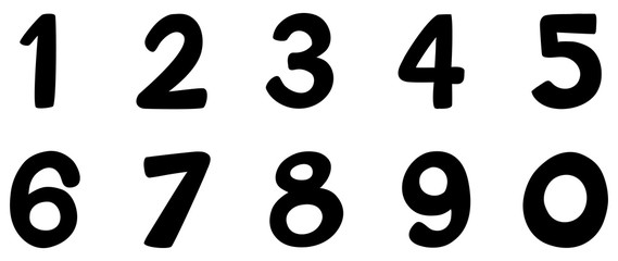 Font design for number one to zero on white background Fototapete