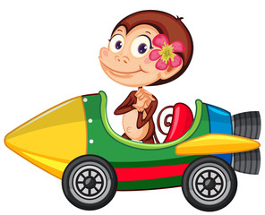 Zelfklevend Fotobehang Kids Monkey riding on toy rocket on white background