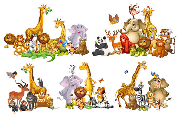 Stores à enrouleur Jeunes enfants Set of wild animals in groups on white background