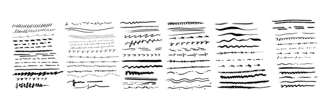 Hand drawn lines set
