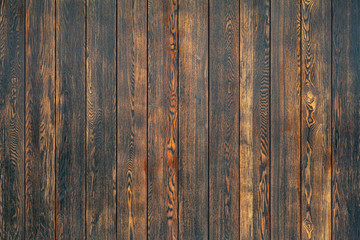 Old wooden background in rustic style. Dark wooden background with the structure and pattern of boards and panels. Copy space