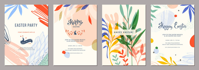 Fototapeta Trendy abstract Easter templates. Good for poster, card, invitation, flyer, cover, banner, placard, brochure and other graphic design.