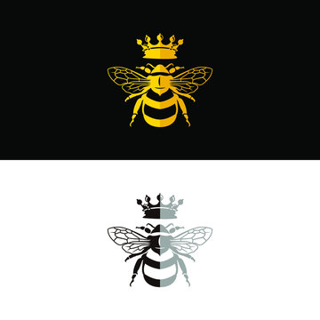 Queen bee flat design logo vector