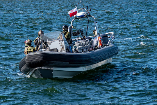 Military RIB boat during a military exercise