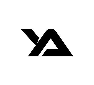 Initial 2 letter Logo Modern Simple Black YA