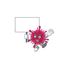 A picture of amoeba coronaviruses cartoon character with board
