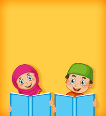 Stores à enrouleur Jeunes enfants Background template design with happy muslim boy and girl reading