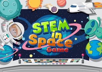 Zelfklevend Fotobehang Kids Poster design with astronaut and alien in control room