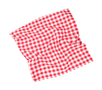 Red checked picnic cloth top view,kitchen towel.