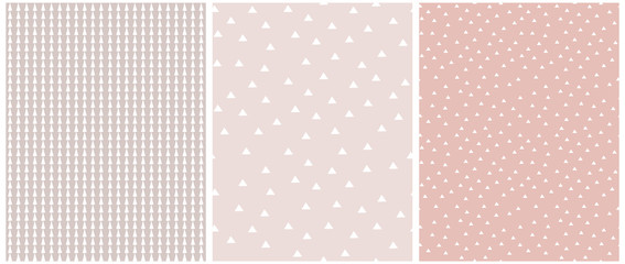 Set of 3 Geometric Seamless Vector Pattern with White Triangles and Grid Isolated on a Light Blush Pink Background. Simple Lovely Confetti Rain of Trangle Shape. Cute Checkered Vector Print.