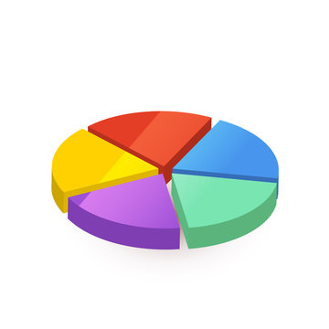 Bright colourful pie diagram divided in five pieces on white