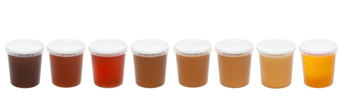 Apiculture - Pots de miel de différentes fleurs