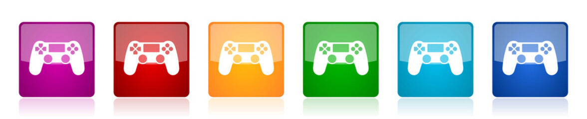 Wireless gaming controller icon set, gamepad colorful square glossy vector illustrations in 6 options for web design and mobile applications