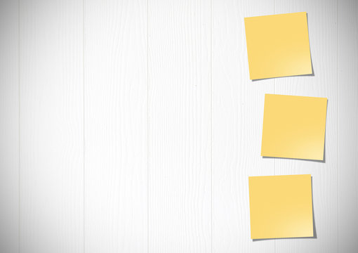illustration of yellow post it notes on white wooden wall background.
