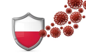 Poland flag shield protection against a virus bacteria. 3D Render