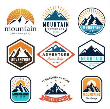 Set Of Mountain and Sea for Outdoor Adventure Emblem Logo design inspiration Hiking, vintage mountain  logo design inspiration