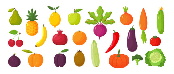 Set of juicy fruits and vegetables in cartoon style . Healthy lifestyle, vegetarianism